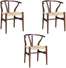 Kit 3 Cadeiras Decorativas Sala de Jantar e Cozinha Bella Madeira Bétula Tabaco - Gran Belo