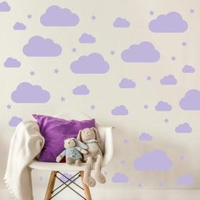 Adesivo Quarto Nuvens Roxo 64un para Quarto Infantil