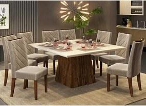 Mesa de Jantar Paris 140cm Rústico Malbec Off White + 8 Cadeiras Sara Veludo Kraft