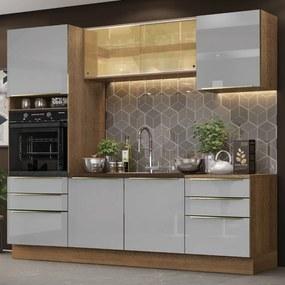 Cozinha Completa Madesa Lux 240002 com Armário e Balcão Rustic/Cinza Cor:Rustic/Cinza