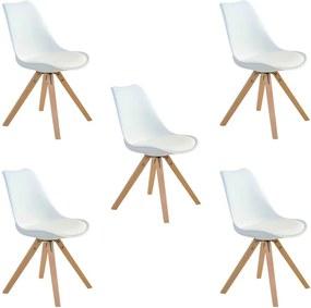 Kit 5 Cadeiras Decorativas Sala e Escritório Neo (PP) Branca- Gran Belo