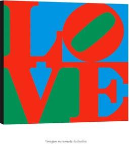 Poster Love - Com Fundo Azul E Verde (60x60cm, com Painel)