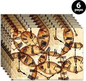 Kit 6pçs Jogo Americano Mdecor Relógios 40x28cm Bege
