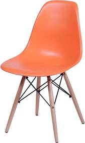 Cadeira Eiffel PP Laranja Base Madeira Or Design