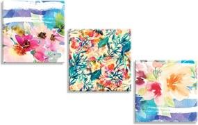 Conjunto de 3 Telas Decorativas em Canvas Wevans Flores Multicolorida