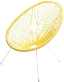 Cadeira Acapulco Amarela Com Cordas de PVC - Base Aço