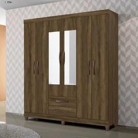 Guarda-Roupa Casal Ambar 6 Portas com Espelho - Cedro