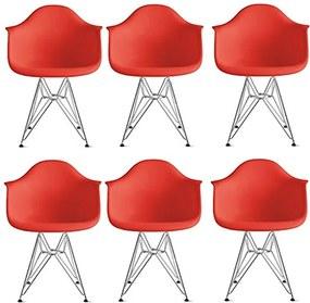 Conjunto 6 Cadeiras Eiffel Eames DAR Vermelha