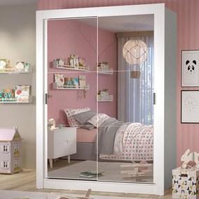 Guarda-Roupa Infantil Madesa Theo 2 Portas de Correr de Espelho 4 Gavetas Branco Cor:Branco