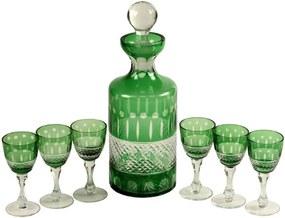 Licoreira de Vidro Decorativa Esmeralda com 6 taças