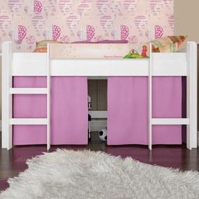 Cama Infantil Cama Elevada Sem Escorregador Branco/Rosa Bb 870 - Completa Móveis