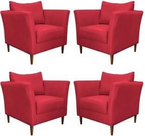 Kit 4 Poltronas Decorativa Sala de Estar Pés Palito Lubbock Couro Vermelho - Gran Belo