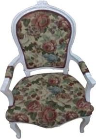 Cadeira em Madeira com Estofado Florido - 60x50x98cm