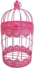 Gaiola Fancy Laces Rosa em Ferro - Urban - 27,3x15 cm