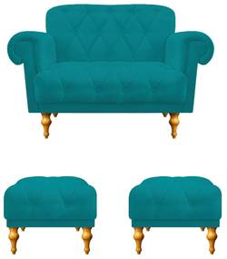 kit 01 Namoradeira e 02 Puffs Decorativos Dani Suede Azul Turquesa - ADJ Decor