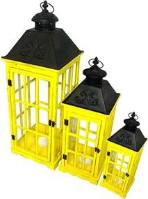 Conjunto com 3 Lanternas Amarelas e Pretas