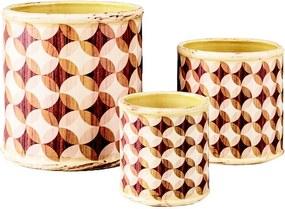 Kit de Cachepots Cerâmica Entardecer 3 Peças