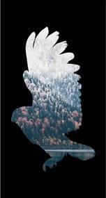 Quadro Alto Relevo Floresta Aguia Preto40x75cm