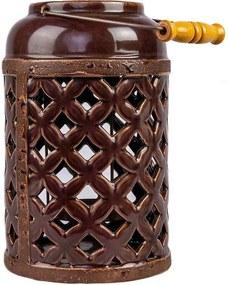 Lanterna Cerâmica Vazada com Puxador