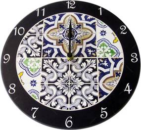 Relógio de Parede Azulejos em Madeira MDF - 28 cm