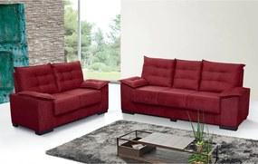 Conjunto De Sofá Grécia 3 E 2 Lugares Tecido Suede Amassado Vermelho - Moveis Marfim