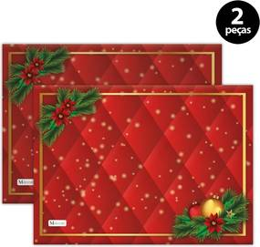 Jogo Americano Mdecore Natal 40x28cm Vermelho2pçs
