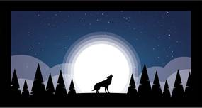 Quadro Alto Relevo Lobo Arvores Lua Azul40x75cm
