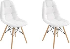 Kit 2 Cadeiras Decorativas Sala e Escritório Cadenna (PU) Branca - Gran Belo