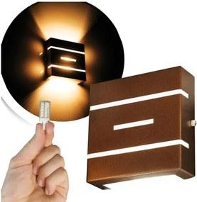 Arandela Frisada Flat Externa c/ LED 5W Incluso | Cor da Luz: 2.700k | Tam: 14x14cm | Cor: Marrom | Soq: G9 | Mod: Flyn
