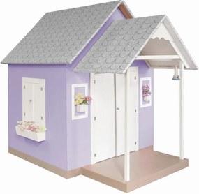 Casinha de Brinquedo com Telhado de Tijolos Lilás - Criança Feliz