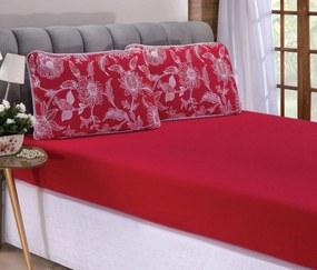 Roupa de Cama Casal Padrão Beatrice 100% Algodão 03 Peças - Vermelho
