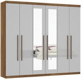 Guarda-Roupa Supreme Com Espelho Canela/Off White – MiraRack Móveis