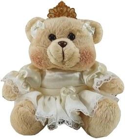 Ursa Soft Pequena Vestido Palha Renda com Coroa