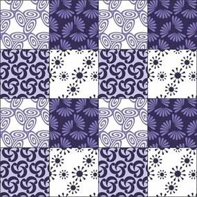 Adesivo Azulejo Abstrato Branco E Roxo
