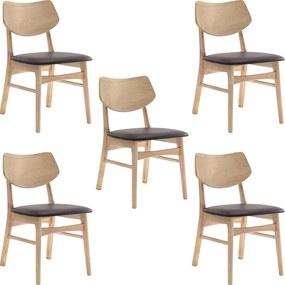 Kit 5 Cadeiras Decorativas Sala e Escritório Zion Madeira Natural (PU) Café - Gran Belo