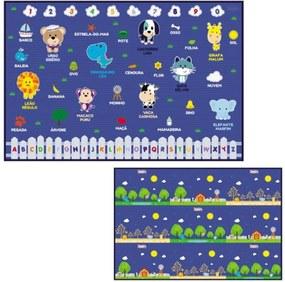 Tapete Infantil Azul Dupla Face 1.20 x 1.80 - Turminha Animal - Unik Toys
