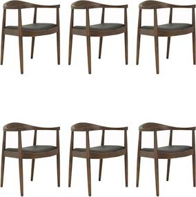 Kit 6 Cadeiras Decorativas Sala e Escritório Colonial Madeira Tabaco - Gran Belo