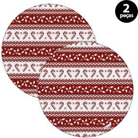 Capa para Sousplat Mdecore Natal Bengala Vermelho 2pçs