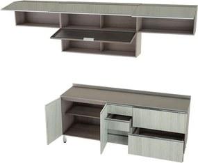 Conjunto Cozinha Completa Cleto 2,80m C/ 6 Portas Malbec / Legno Crema