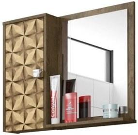 Espelheira E Armário Superior Gênova Madeira Rústica Com madeira 3D - Bechara Móveis