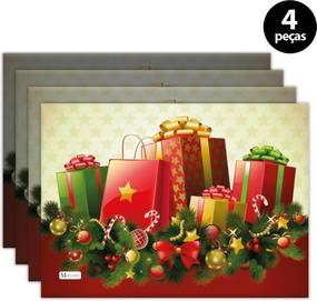 Jogo Americano Mdecore Natal Presentes 40x28 cm Bege 4pçs