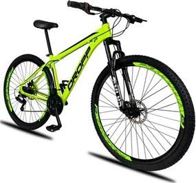 Bicicleta Aro 29 Quadro 21 Alumínio 21 Marchas Freio a Disco Mecânico Color Amarelo/Preto - Dropp