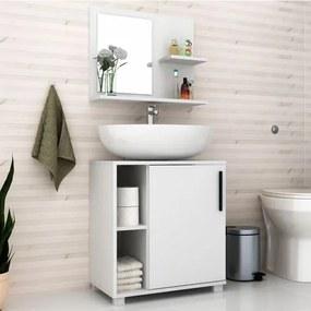 Conjunto Banheiro Balcão 1 Porta e Aéreo com Espelho BRV  - Branco