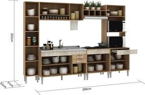 Cozinha Classic 6 Peças S/Tampo Carvalho/Blanche/Bordô Fellicci Móveis