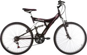 Bicicleta Aro 26 Mtb Tb-200 Full Suspensão 18 V Preto E Fusccia Track Bikes