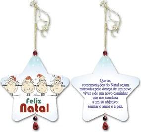 Móbile Estrela Comemorações do Natal Branco em MDF - 14x13 cm
