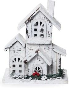 Casa Pássaro Madeira Decoração Natal 5 Leds 1 Peça Marrom