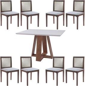 Conjunto Mesa Shell com Tampo de Vidro 150x150 cm e 8 Cadeiras Steve Amêndoa - Gran Belo