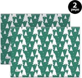 Jogo Americano Mdecore Árvores Natal 40x28cm Verde2pçs