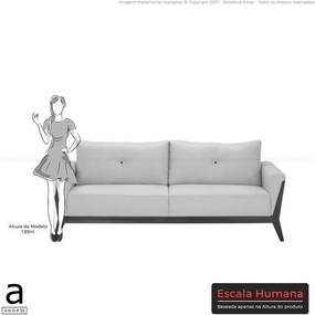 Sofá de Living Olga C/ Largura de 230cm Diversas Cores Linho Riscado